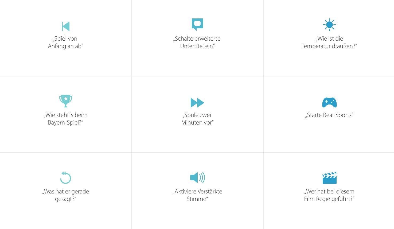 Der Sprachassistent Siri hilft anhand von diversen Sprachbefehlen nach Inhalten oder beim Schauen von Filmen und Serien.