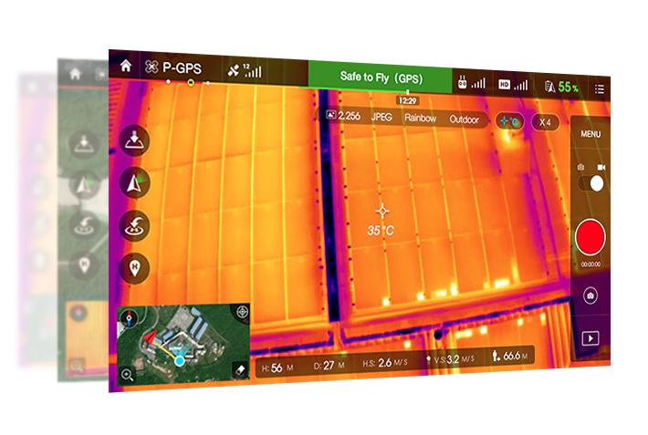 Thermal Imaging in der DJI GO-App: Mittels DJI Lightbridge wird das Kamerabild direkt in Echtzeit auf ein Tablet oder einen Monitor übertragen. Innerhalb der App werden zudem wichtige Daten – etwa Höhe oder Distanz des Quadrocopters – eingeblendet.