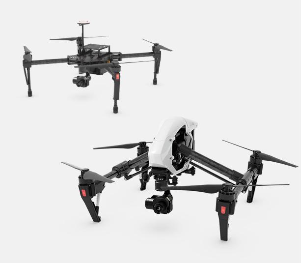 DJI Matrice M100 und DJI Inspire 1 – beide Quadrocopter sind mit den XT-Kameras bestückt.