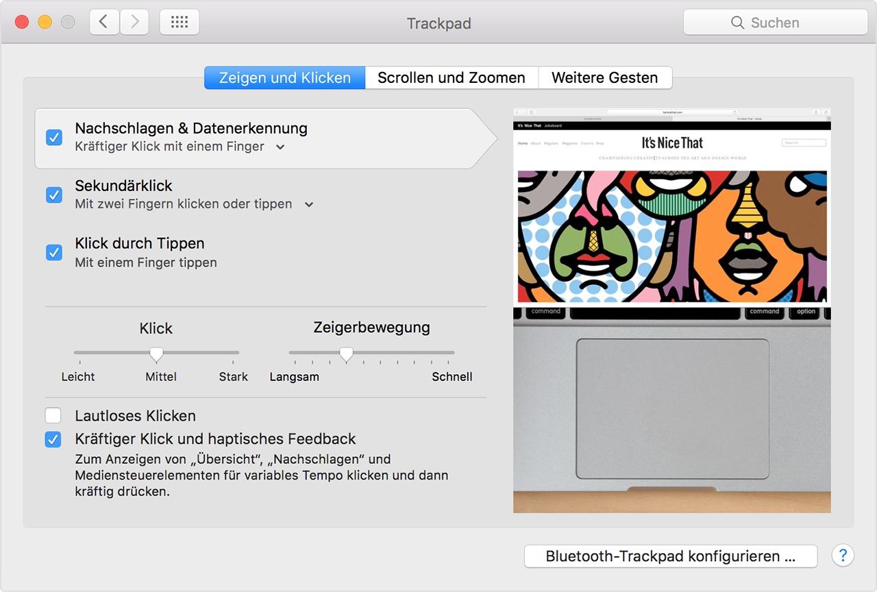 """In den Systemeinstellungen (""""Menü"""" - """"Systemeinstellungen"""" – """"Trackpad"""") bietet das neue Magic Trackpad 2 allerhand Konfigurationsmöglichkeiten. Neben den Scroll- und Zoom-Funktionen sowie weiteren Gesten können hier Klickdruck (leichter, mittel, stärker) sowie Zeigerbewegung (langsam bis schnell) konfiguriert werden. Zudem kann das lautlose Klicken ebenso wie die Force Touch-Funktion aktiviert oder deaktiviert werden."""