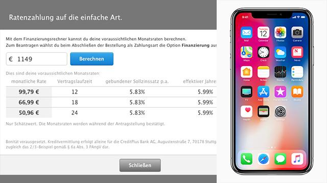 Apple iPhone X: Finanzierung und Ratenzahlung